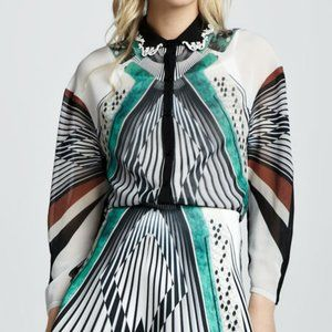 Clover Canyon Accordion-Print Embroidered Blouse M